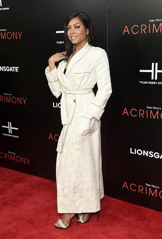 <p>The <em>Empire</em> star rocked a cream-colored, bathrobe-style dress at the premiere of her new thriller <em>Acrimony</em> in New York City on Monday night. (Photo: Jamie McCarthy/Getty Images) </p>