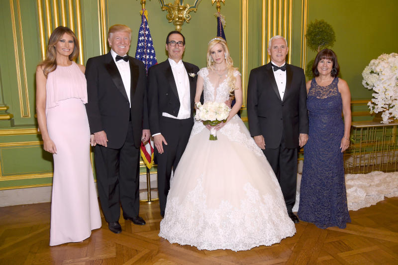 The wedding of Treasury Secretary Steven Mnuchin and actress Louise Linton in June was attended by President Donald Trump and first lady Melania Trump and Vice President Mike Pence and his wife, Karen Pence.