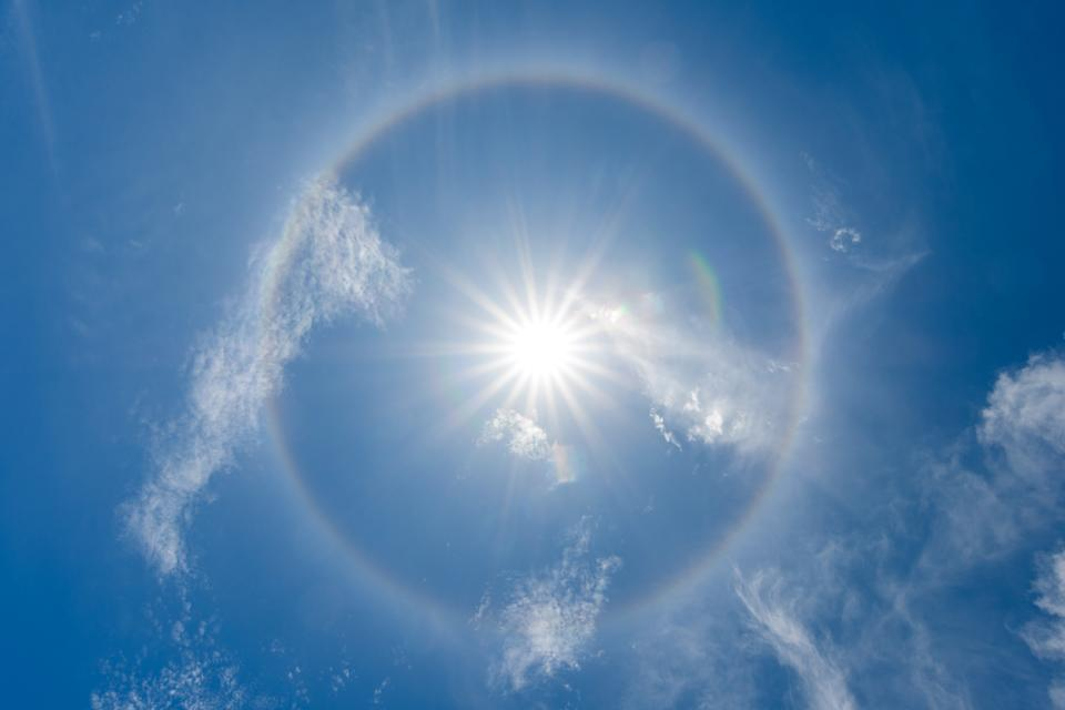 solar halo or antelia, creates around the sun a rainbow crown, meteorological phenomenon