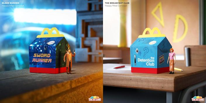 Fake Happy Meal boxes and toys for Blade Runner and The Breakfast Club