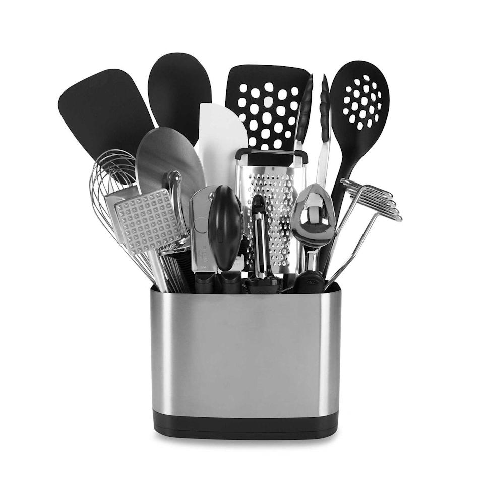 """<p>Rather than clutter your registry with a dozen 10-buck utensils, let your guests buy a pre-corralled set. This one comes with everything you could ever need — a whisk, a spatula, a can opener — and things you probably don't.</p><p><strong><em>BUY IT NOW: Oxo Good Grips 15-Piece Kitchen Tool Set, $100; </em></strong><a href=""""https://www.bedbathandbeyond.com/store/product/oxo-good-grips-reg-15-piece-kitchen-tool-set/1013876150?Keyword=wedding+registry+favorite&AID=11469020&PID=4031187&SID=2866X1446373X886cca23e042f0f0f604c835d56b043f&source=Commission+Junction&utm_source=Skimlinks&utm_medium=affiliate&utm_campaign=Bed+Bath+%26+Beyond+Deep+Link&mcid=AF_CJ___2617611"""" rel=""""nofollow noopener"""" target=""""_blank"""" data-ylk=""""slk:Bedbathandbeyond.com"""" class=""""link rapid-noclick-resp""""><strong><em>Bedbathandbeyond.com</em></strong></a></p>"""