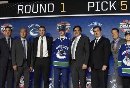 June 23, 2017; Chicago, IL, USA; Elias Pettersson poses for photos after being selected as the number five overall pick to the Vancouver Canucks in the first round of the 2017 NHL Draft at the United Center. Mandatory Credit: David Banks-USA TODAY Sports