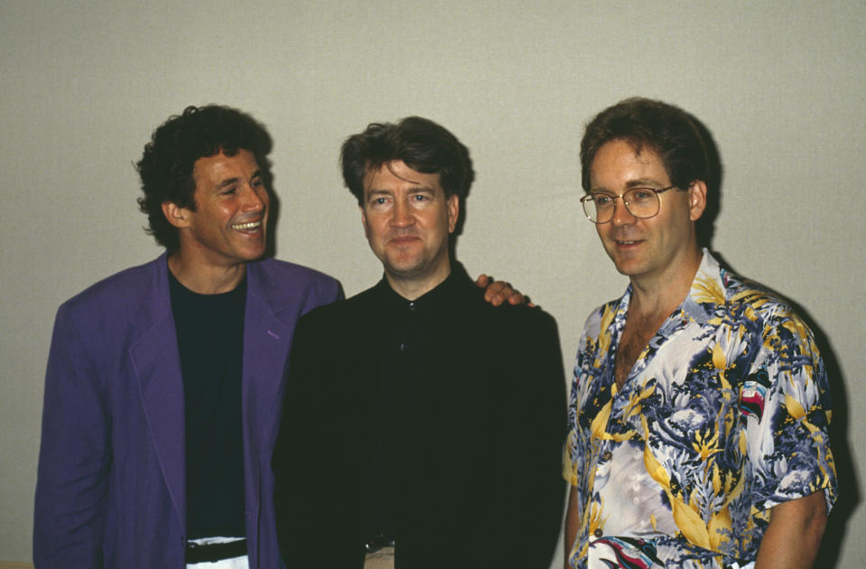 From left to right, actor Michael Ontkean, director David Lynch and writer-producer Mark Frost, the star and co-creators of cult television show 'Twin Peaks', circa 1990. (Photo by Bob Grant/Fotos International/Getty Images)