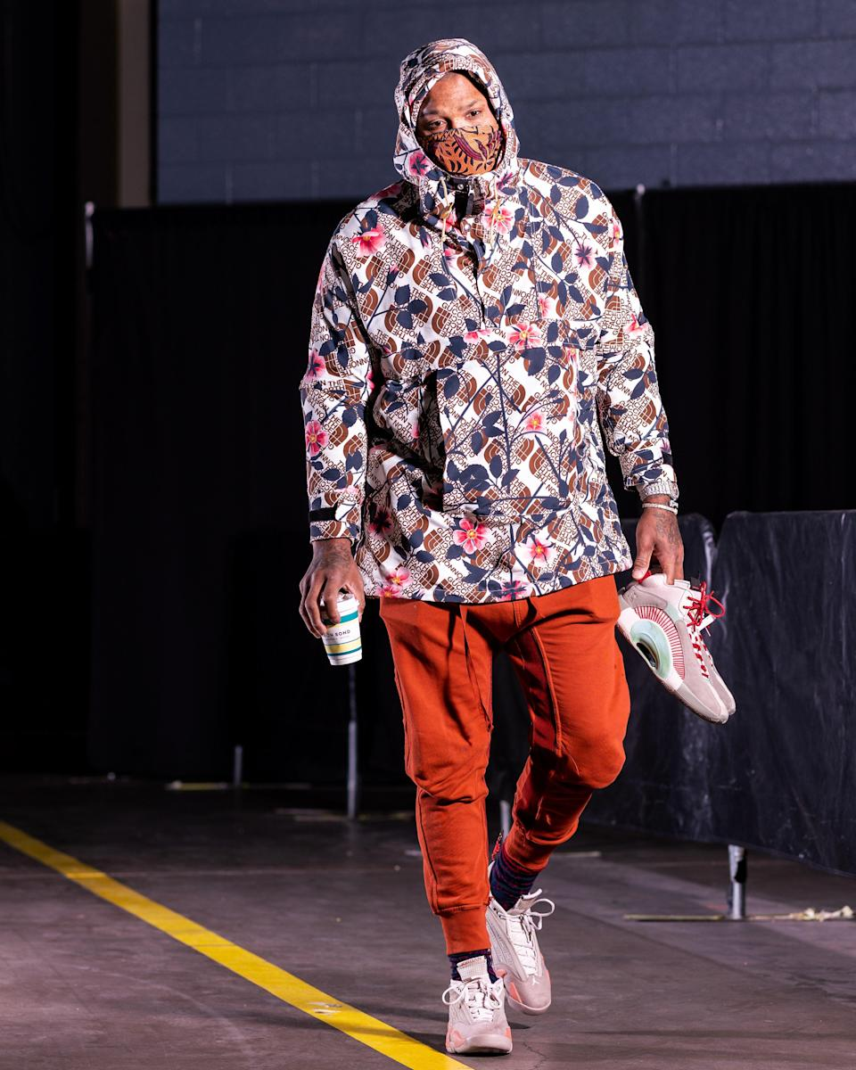 P.J. Tucker of the Rockets arrives for a game against the Los Angeles Lakers in Houston, January 10, 2021.