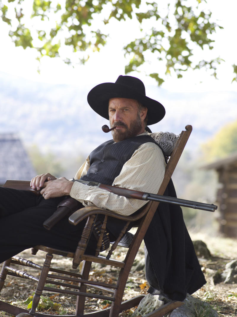 """This undated image released by History shows Kevin Costner portraying Devil Anse Hatfield from the History network's miniseries """"Hatfields & McCoys.""""  The program was nominated for an Emmy award on Thursday, July 19, 2012 for outstanding miniseries or movie.  Costner was also nominated for outstanding lead actor in a miniseries or movie, along with castmate Bill Paxton. The 64th annual Primetime Emmy Awards will be presented Sept. 23 at the Nokia Theatre in Los Angeles, hosted by Jimmy Kimmel and airing live on ABC. (AP Photo/History, Kevin Lynch)"""