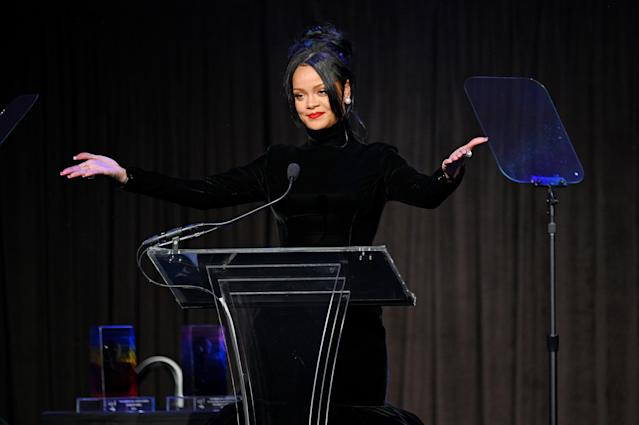 NEW YORK, NEW YORK - SEPTEMBER 12: Rihanna speaks onstage during Rihanna's 5th Annual Diamond Ball Benefitting The Clara Lionel Foundation at Cipriani Wall Street on September 12, 2019 in New York City. (Photo by Dave Kotinsky/Getty Images for Diamond Ball)