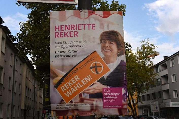 A campaign poster for Cologne's pro-refugee mayor Henriette Reker, who was stabbed by a man with a history of far-right activism (AFP Photo/Patrik Stollarz)