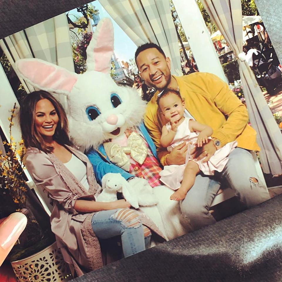 """<p>John Legend couldn't make it when Chrissy Teigen brought their daughter, Luna, to meet Santa (<a rel=""""nofollow"""" href=""""https://www.yahoo.com/celebrity/chrissy-teigen-brought-luna-to-meet-santa-and-omg-look-at-how-cute-her-sad-face-is-190154263.html"""">he had a stand-in</a>), so the singer made sure not to miss face time with the Easter bunny. And, may we say, their family portrait turned out perfect. (Photo: John Legend via Instagram) </p>"""