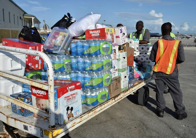 Hurricane relief aid being unloaded in Freeport, Grand Bahama island