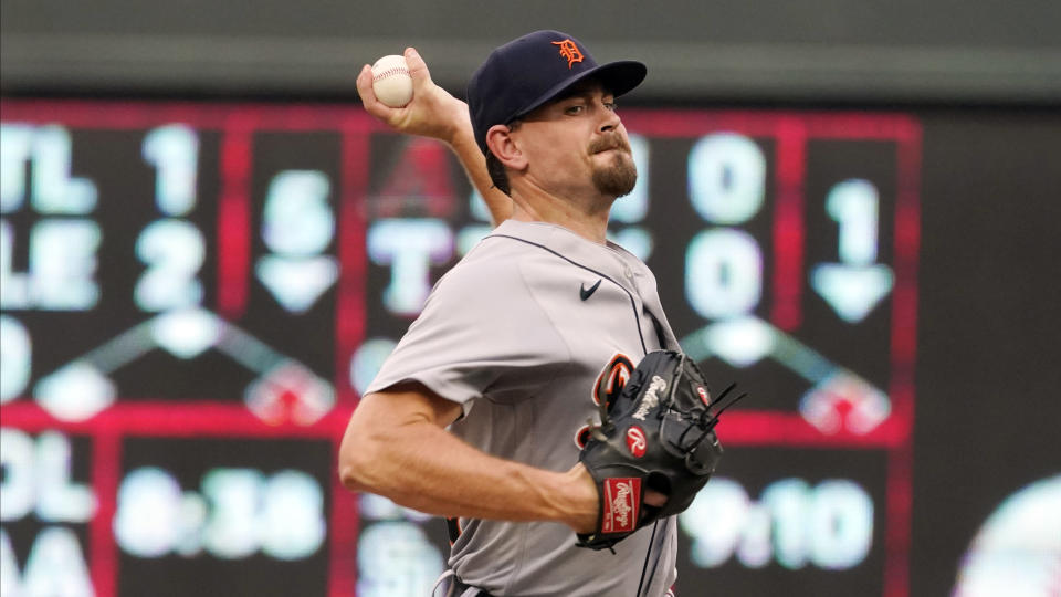 Detroit Tigers pitcher Tyler Alexander throws to a Minnesota Twins batter during the first inning of a baseball game Tuesday, July 27, 2021, in Minneapolis. (AP Photo/Jim Mone)