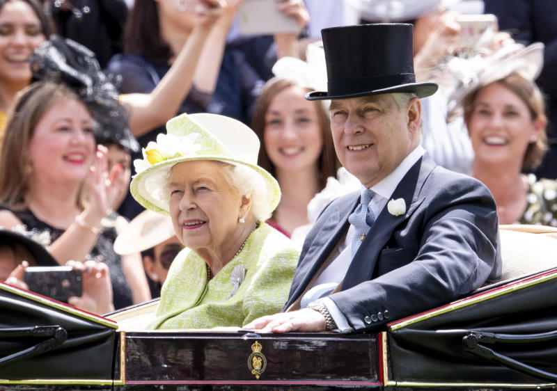 ASCOT, ENGLAND - JUNE 22: Queen Elizabeth II and Prince Andrew, Duke of York on day five of Royal Ascot at Ascot Racecourse on June 22, 2019 in Ascot, England. (Photo by Mark Cuthbert/UK Press via Getty Images)