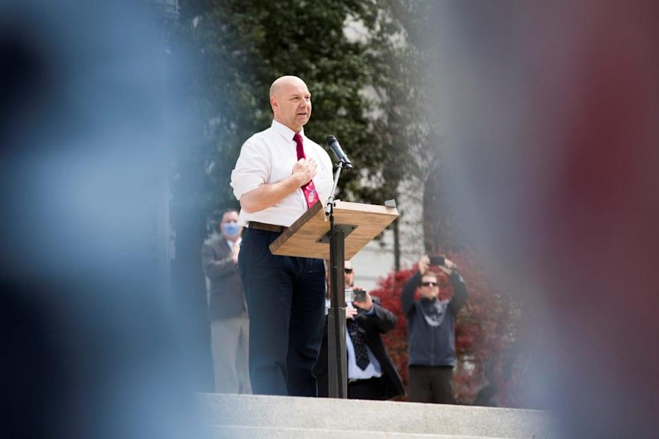 """<div class=""""inline-image__caption""""><p>Mastriano speaks at a protest against an extended stay-at-home order to help slow the spread of the coronavirus in Harrisburg, Pennsylvania, on April 20, 2020.</p></div> <div class=""""inline-image__credit"""">REUTERS/Rachel Wisniewski</div>"""