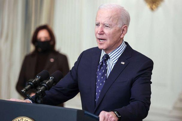 PHOTO: President Joe Biden joined by Vice President Kamala Harris, speaks in the State Dining Room of the White House, March 6, 2021. (The Washington Post via Getty Images, FILE)
