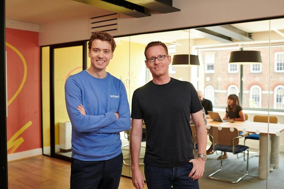Euan Blair co-founded the start-up with friend Sophie Adelman in 2016 -- pictured with Multiverse board member and president, Jeremy Duggan (Multiverse)