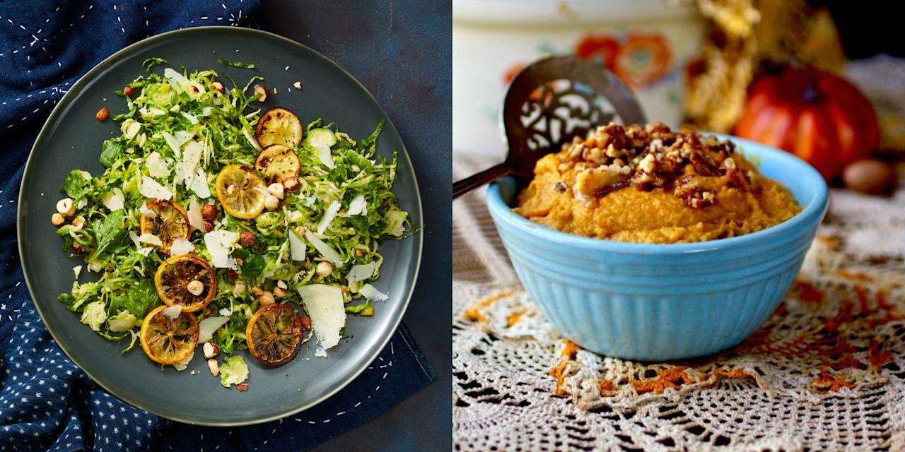 """<p>Thanksgiving is a wonderful time of year for family to spend time together—<em>and </em><em></em>enjoy an indulgent meal. But for the 30 million Americans who live with <a href=""""https://www.prevention.com/health/health-conditions/a21764231/type-2-diabetes-definition/"""" target=""""_blank"""">type 2 diabetes</a>, a spread of carb-heavy foods and sugary desserts can make managing blood sugar spikes difficult. </p><p>Of course, it can be even harder than usual to stick to a diabetes-friendly diet when all of your friends and family are chowing down on your mom's homemade stuffing and <a href=""""https://www.prevention.com/food-nutrition/g20450493/healthy-pumpkin-recipes/"""" target=""""_blank"""">pumpkin pie</a>. However, it's important to remember that you can enjoy the feast, too—it's all about moderation. </p><p>""""Eat the foods you love and look forward to throughout the year, while being mindful of how you are balancing your plate,"""" says Lori Zanini, RD, certified diabetes educator and author of the <em><a href=""""https://www.amazon.com/Diabetic-Cookbook-Meal-Newly-Diagnosed/dp/164152023X/"""" target=""""_blank"""">Diabetes Cookbook and Meal Plan for the Newly Diagnosed</a></em>.  """"Deprivation never works, and it usually leads to overeating later.""""</p><p> So how do you let yourself indulge without going overboard? Keep these tips from Zanini in mind before your feast:</p><p><strong>Pile on the protein.</strong> Foods that are low-carb and high-protein will be the best options. Your body digests protein more slowly, thus creating less of an impact on your blood sugar levels. Go for the turkey first! <br></p><p><strong>Choose the right carbs. </strong>""""I always recommend that carbs come from high-quality, plant-based sources such as quinoa, sweet potatoes, winter squash, and berries,"""" says Zanini. """"These types of carbs will also come with fiber, which helps food digest slower."""" Limit the added sugar. </p><p><strong>Keep your portion sizes in check.</strong> After all, there <em>will </em>be left"""