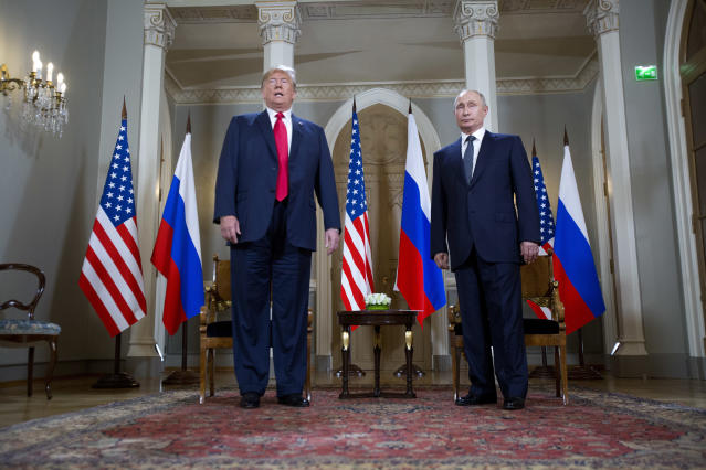 President Trump and Russian President Vladimir Putin pose for a photograph at the beginning of a one-on-one meeting at the Presidential Palace in Helsinki. (Photo: AP/Pablo Martinez Monsivais)