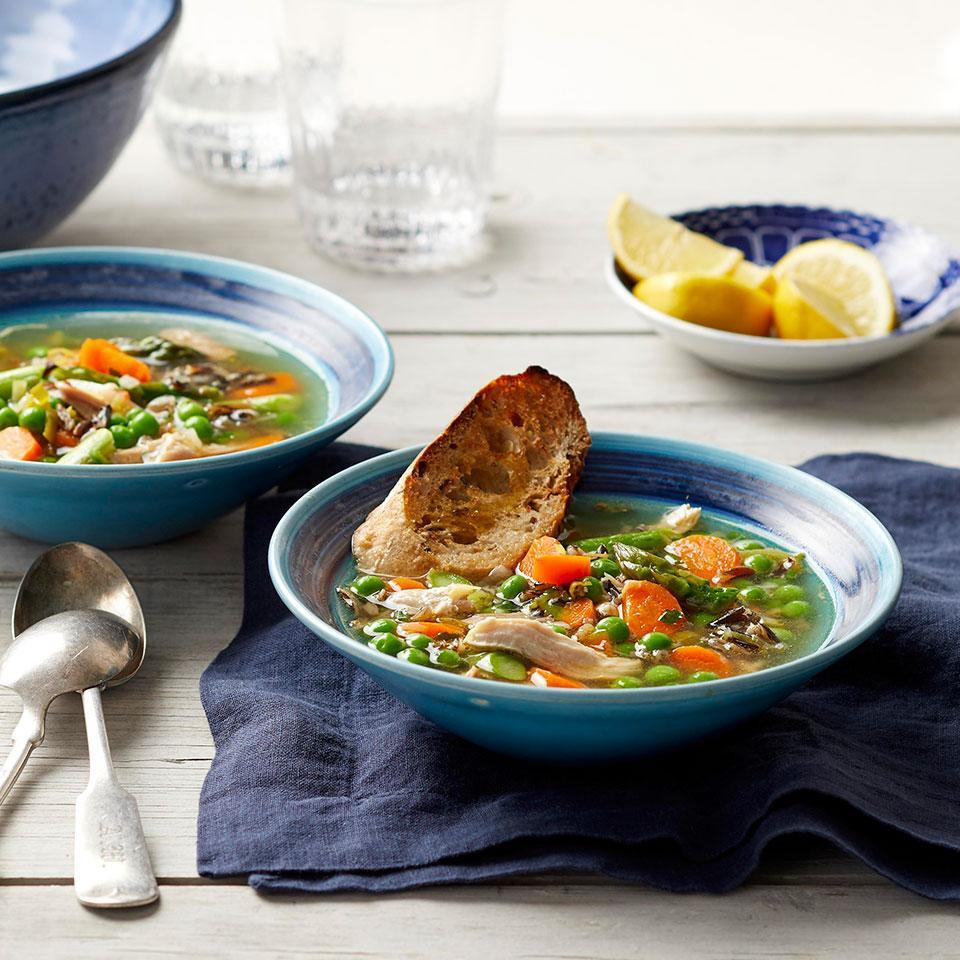 <p>Use your crock pot all year with this healthy slow-cooker chicken soup recipe with fresh spring ingredients. Adding the asparagus and peas to the slow cooker for the last 20 minutes of cooking and leaving the lid off ensures that the vegetables stay bright green and are perfectly done without getting mushy.</p>