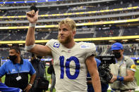 Los Angeles Rams wide receiver wide receiver Cooper Kupp (10) walks off the field after a win over the Tampa Bay Buccaneers in an NFL football game Sunday, Sept. 26, 2021, in Inglewood, Calif. (AP Photo/Kevork Djansezian)