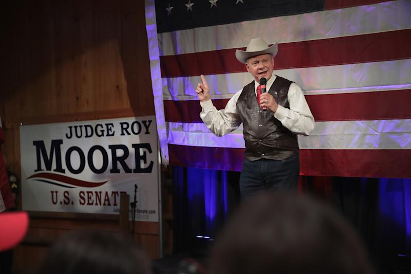 Roy Moore, the Republican candidate for Senate in Alabama, is shown at a campaign stop before the primary election that he won. (Scott Olson via Getty Images)