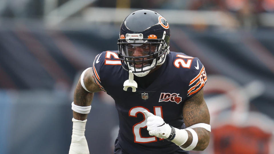 Chicago Bears strong safety Ha Ha Clinton-Dix starts his pass coverage during the first half of an NFL football game against the Detroit Lions in Chicago, Sunday, Nov. 10, 2019. (AP Photo/Charles Rex Arbogast)