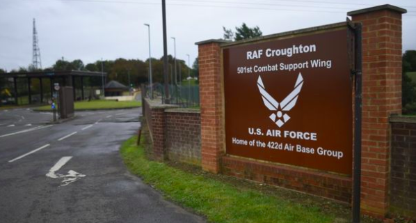 Intelligence base: The accident happened when Mrs Sacoolas allegedly pulled out of RAF Croughton on the wrong side of the road. (Getty)