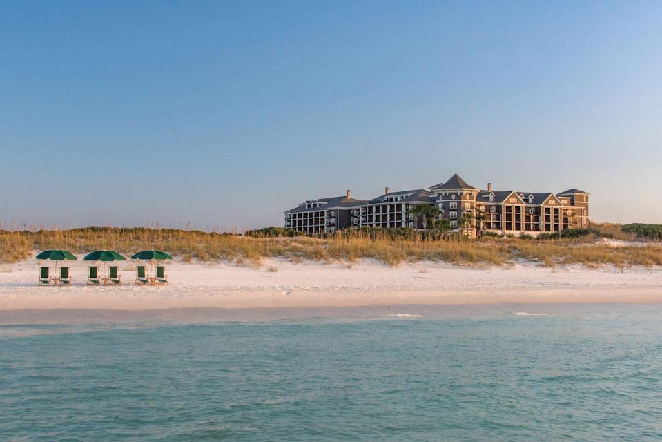 """<p><a href=""""https://www.hendersonbeachresort.com/"""" rel=""""nofollow noopener"""" target=""""_blank"""" data-ylk=""""slk:The Henderson"""" class=""""link rapid-noclick-resp"""">The Henderson</a> is seated on a prime address along the shores of Destin, Florida: it's right next to Henderson State Park, meaning it boasts plenty of otherwise unheard of pristine and private beach access just for guests. The resort is full of coastal elegance, making it ideal for couples while still being comfortable enough for the whole family to join. </p><p>The resort features a selection of rooms, suites, and poolside lofts, six dining facilities, and a recreation team to help you take best advantage of all the exciting activities and experiences offered here. Don't miss out on a date night at Primrose, a sunset cocktail at The Rooftop, or the local artwork at every turn. The resort also features a selection study spaces for an easy workcation with unparalleled views.</p>"""