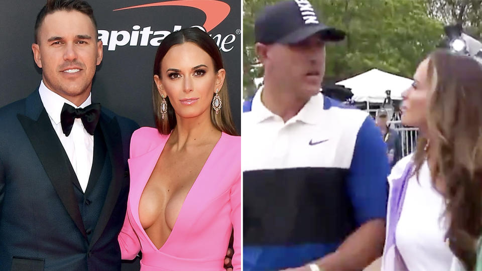 Brooks Koepka, pictured here appearing to snub Jena Sims at the 2019 PGA championship.