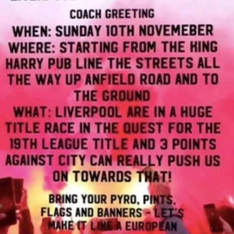 A poster ahead of the Liverpool vs Manchester City match on Sunday