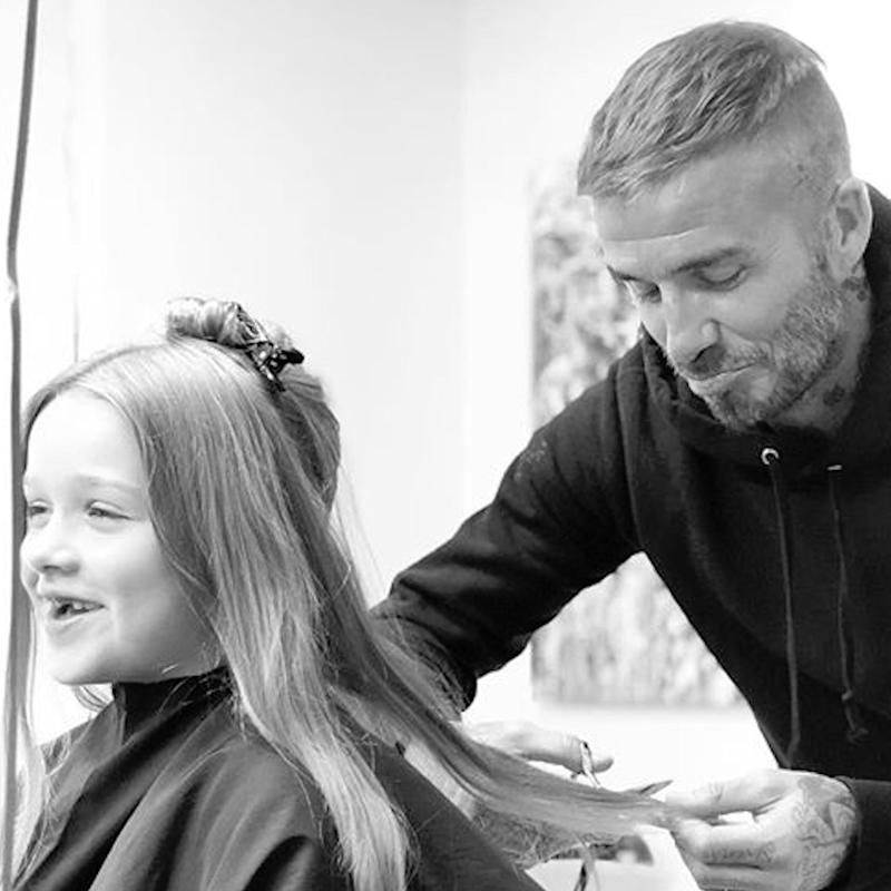 David Beckham Reluctantly Gives Harper A Haircut But Says She Looks