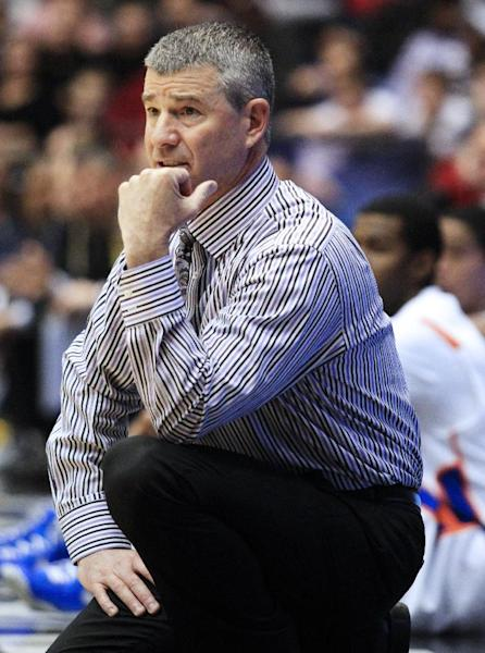 Boise State head coach Leon Rice watches in the first half of a first-round game against Boise State in the NCAA college basketball tournament, Wednesday, March 20, 2013, in Dayton, Ohio. (AP Photo/Skip Peterson)