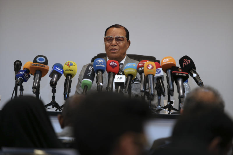 "Minister Louis Farrakhan, the leader of the Nation of Islam, speaks at a press conference in Tehran, Iran, Thursday, Nov. 8, 2018. Farrakhan warned President Donald Trump not to pull ""the trigger of war in the Middle East, at the insistence of Israel."" The 85-year-old Farrakhan, long known for provocative comments widely considered anti-Semitic, criticized the economic sanctions leveled by Trump against Iran after his pullout from the nuclear deal. (AP Photo/Vahid Salemi)"