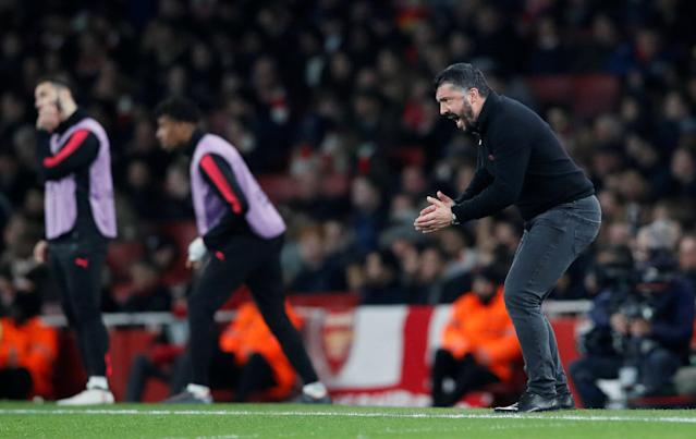 Soccer Football - Europa League Round of 16 Second Leg - Arsenal vs AC Milan - Emirates Stadium, London, Britain - March 15, 2018 AC Milan coach Gennaro Gattuso reacts REUTERS/David Klein