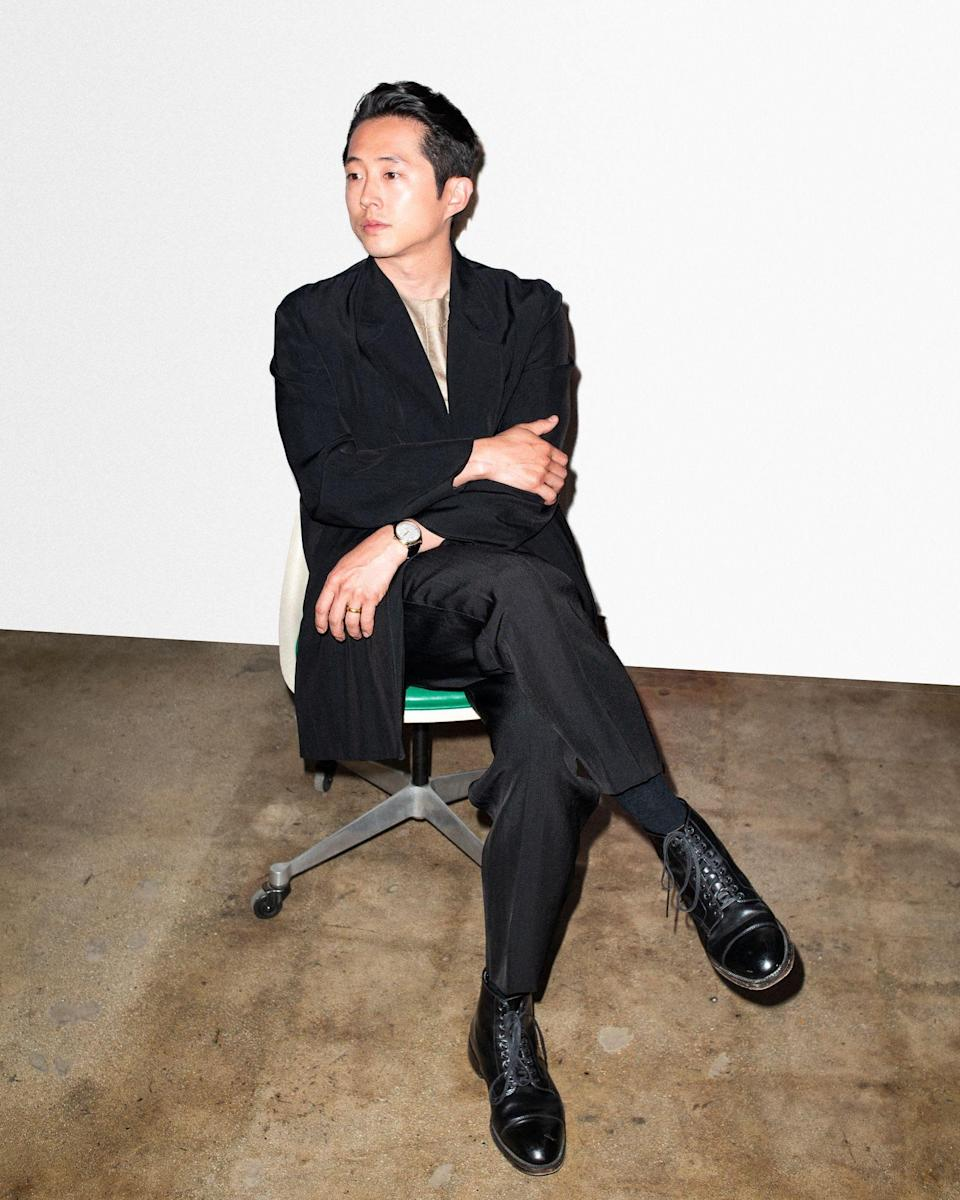 """<a href=""""https://www.gq.com/story/steven-yeun-april-cover-profile?mbid=synd_yahoo_rss"""" rel=""""nofollow noopener"""" target=""""_blank"""" data-ylk=""""slk:Our April cover star"""" class=""""link rapid-noclick-resp"""">Our April cover star</a> looking positively drapey."""