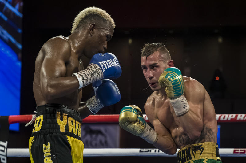 OXON HILL, MD - JULY 19: Subriel Matias and Maxim Dadashev in action during the ninth round of their junior welterweight IBF World Title Elimination fight at The Theater at MGM National Harbor on July 19, 2019 in Oxon Hill, Maryland. (Photo by Scott Taetsch/Getty Images)