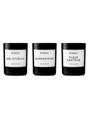 """<p>The ultimate crowd pleaser in a candle comes in a Byredo package. You don't have to be a connoisseur of chic to recognize the top shelf upgrade that comes with its elegant typography and sharp, minimalist design.</p><br><br><strong>Byredo</strong> La Sélection Violette Three-Piece Mini Candle Set, $120, available at <a href=""""https://www.saksfifthavenue.com/byredo-la-selection-violette-three-piece-mini-candle-set/product/0400099791697"""" rel=""""nofollow noopener"""" target=""""_blank"""" data-ylk=""""slk:Saks Fifth Avenue"""" class=""""link rapid-noclick-resp"""">Saks Fifth Avenue</a>"""