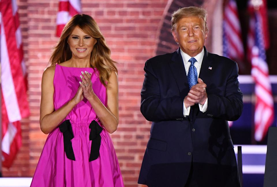 President Donald Trump and First Lady Melania Trump attend the third night of the Republican National Convention. Source: AP