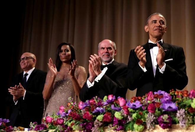 U.S. President Barack Obama applauds at the White House Correspondents' Association annual dinner in Washington, U.S.