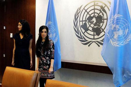 International human rights lawyer Amal Clooney arrives with Yazidi survivor Nadia Murad to meet with United Nations Secretary General, Antonio Guterres, at U.N. headquarters in New York