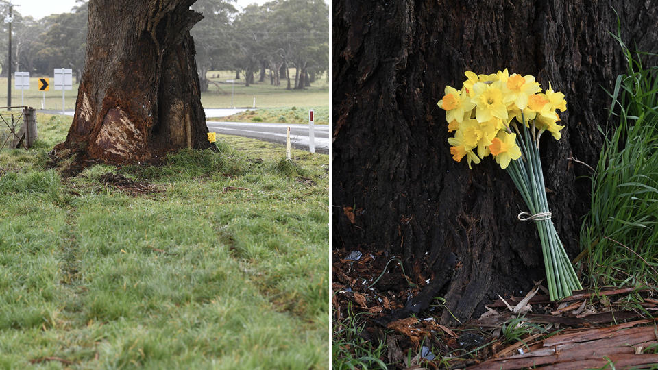 A memorial to Danny Frawley, pictured here at the scene of his tragic death.