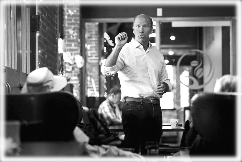 Presidential candidate John Delaney speaks during a campaign stop in Dubuque, Iowa. (Photo: Eileen Meslar/Telegraph Herald via AP; digitally enhanced by Yahoo News)