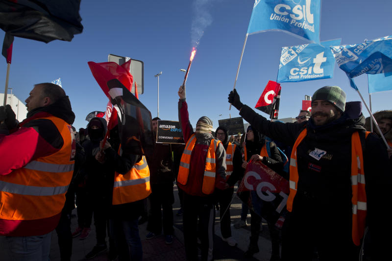 Amazon workers in Spain on a 2-day strike over pay, overtime