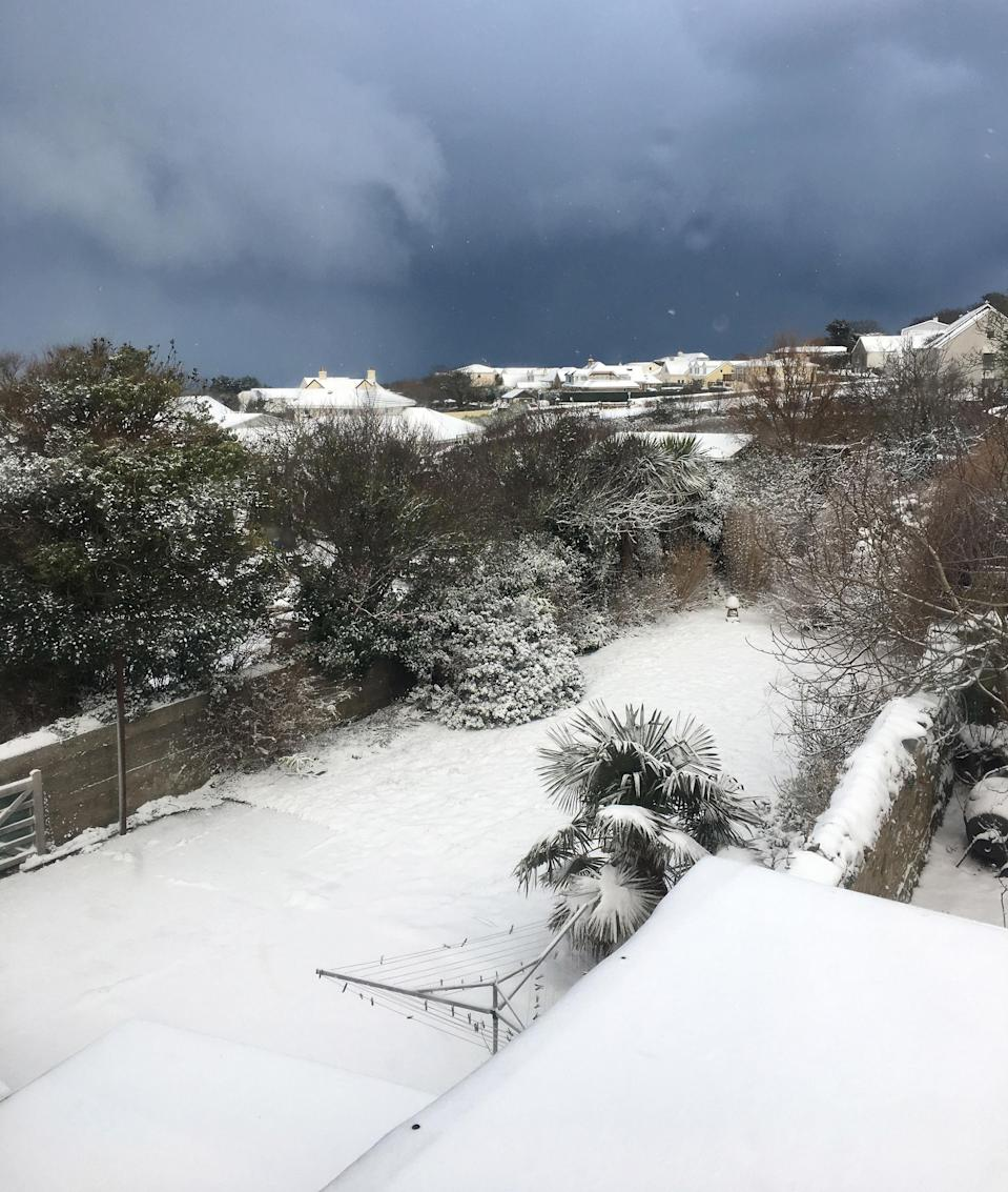 <p>Alderney in the normally temperate Channel Islands woke up to a rare blanket of snow. (PA) </p>