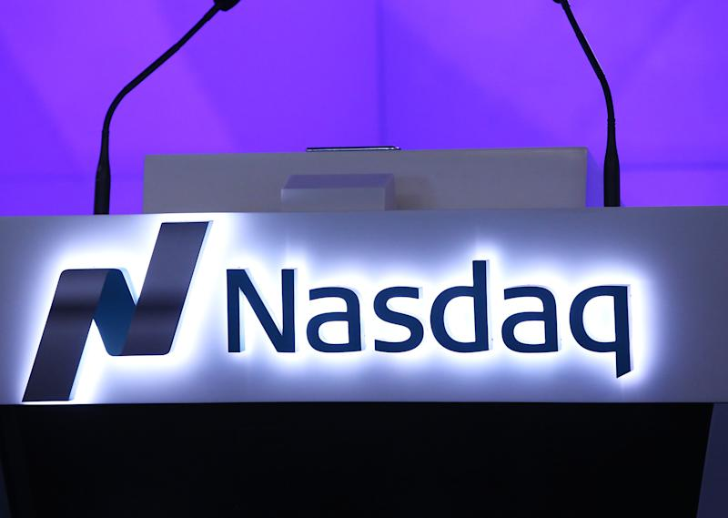 NEW YORK, NY - JANUARY 13: A general view of the Nasdaq logo during the Professional Bull Riders (PBR) ring the Nasdaq Stock Market opening bell at NASDAQ MarketSite on January 13, 2016 in New York City. (Photo by Bennett Raglin/WireImage)
