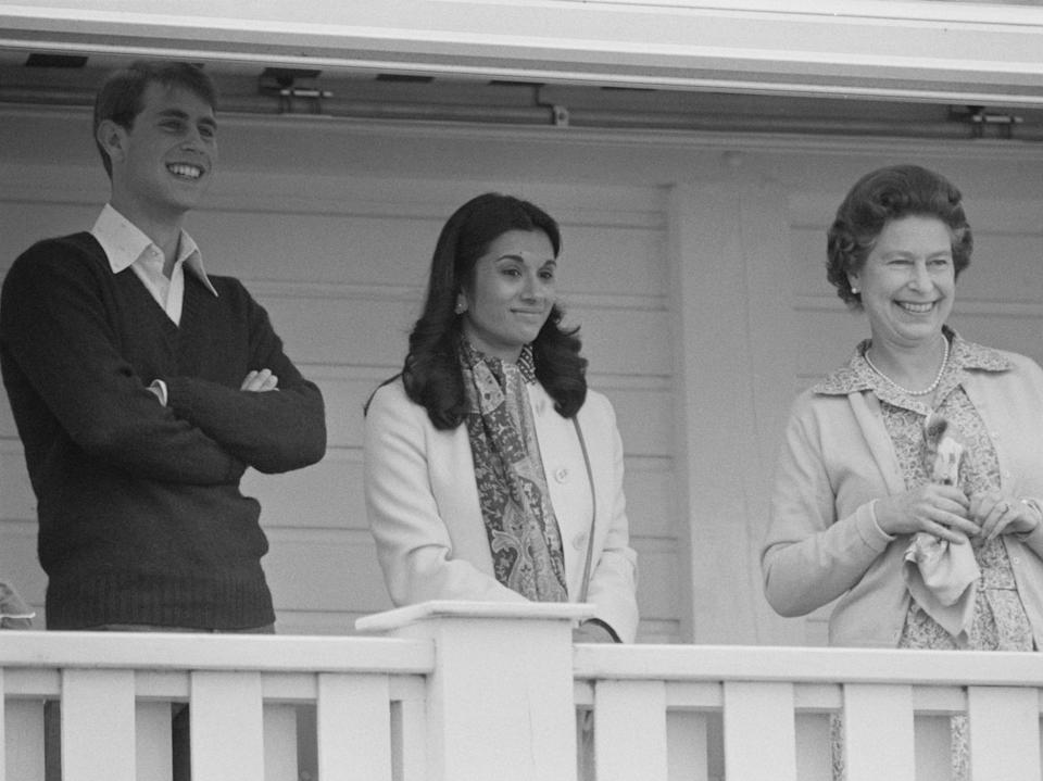 <p>Andrew pictured alongside Princess Sarvath al-Hassan and Queen Elizabeth II in 1984</p>Getty Images