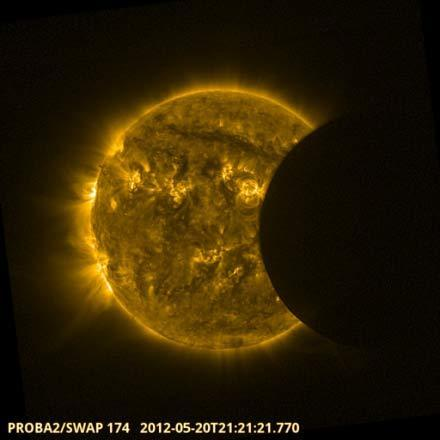 "The European Space Agency's Proba-2 space weather satellite observed the annular solar eclipse on May 20, 2012. The event was used to assess the intensity of stormy ""active regions"" across the sun's face and to check the performance of Proba-2'"