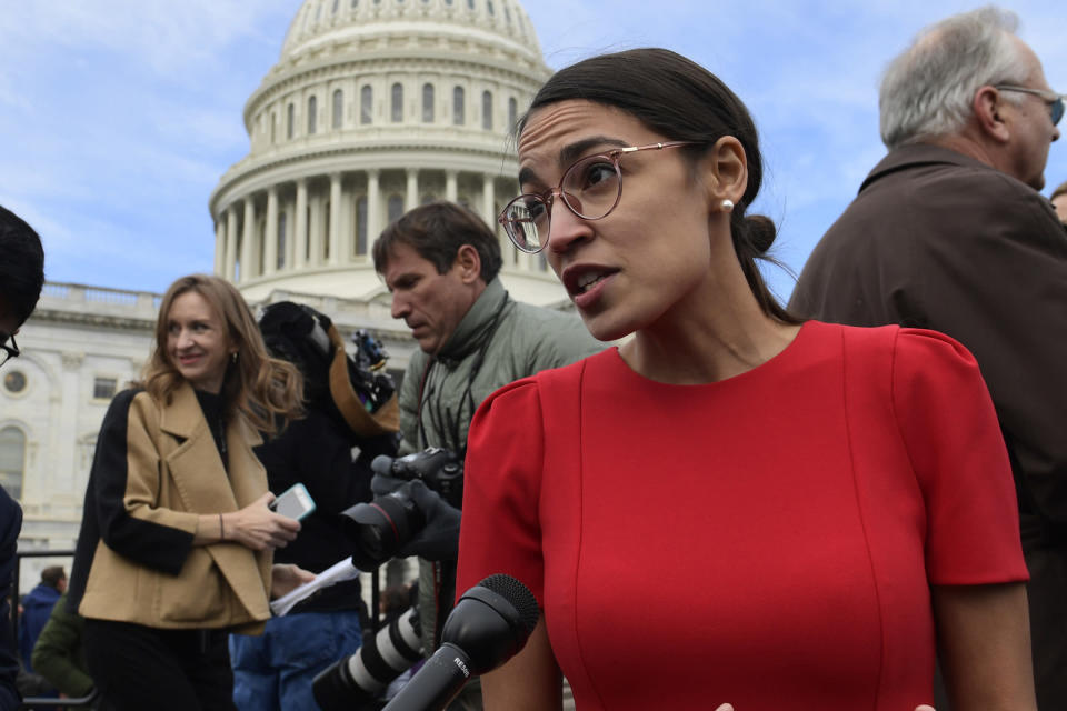 Rep.-elect Alexandria Ocasio-Cortez, D-N.Y., talks with reporters on Capitol Hill in Washington. (Photo: AP Photo/Susan Walsh)