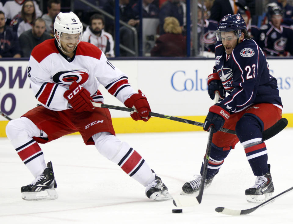 Carolina Hurricanes' Jay McClement, left, defends Columbus Blue Jackets' Brian Gibbons during the first period of an NHL hockey game in Columbus, Ohio, Tuesday, Nov. 4, 2014. (AP Photo/Paul Vernon)