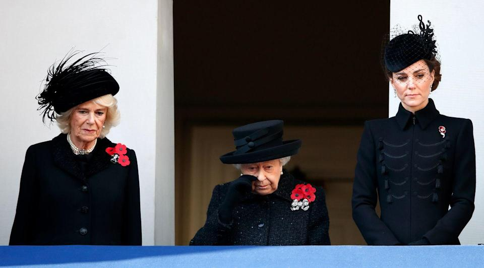 <p>Camilla and Kate stood alongside the Queen at the annual Remembrance Sunday Cenotaph service.</p>