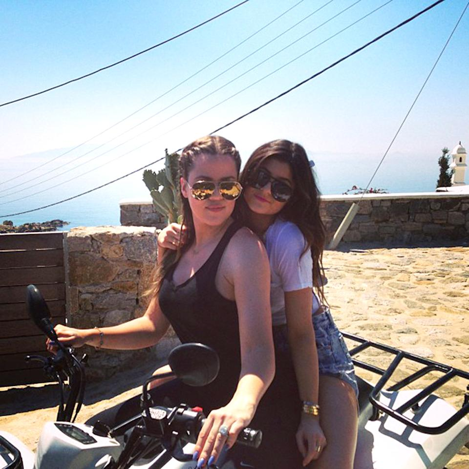 """Khloe's hubby Lamar Odom may be back in the States playing in the NBA playoffs, but you won't find her on the sidelines ... she's too busy tooling around Greece on an ATV with the fam, including sister Kylie (pictured here), who apparently thinks very highly of her big sibling. """"<span id="""".reactRoot[1].0.{info443204367749507563_12281817}.[0][1].0.[1].[1].[1].0""""><span id="""".reactRoot[1].0.{info443204367749507563_12281817}.[0][1].0.[1].[1].[1].0.[0]"""">my best friend/mom/British friend/rock/united states of Tara buddy/twin/better half/sister,"""" the 15-year-old <a href=""""http://instagram.com/p/YmlAY2nGnr/"""" target=""""_blank"""">wrote alongside the photo</a>. Hey, come to think of it, shouldn't Kylie be in school? <br /></span></span>"""