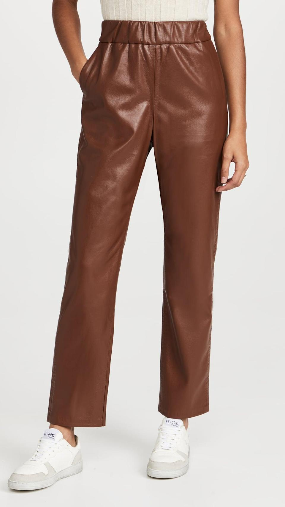 <p>We know, you don't think of comfort when you hear the word leather. These <span>ANINE BING Colton Track Pants</span> ($349) fit the bill though. The looser fit is comfortable, and looks chic.</p>